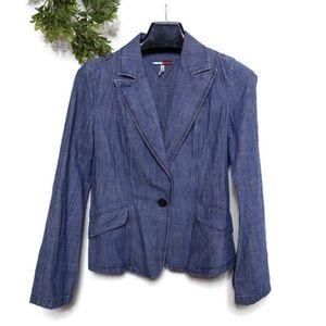 Tommy Blazer Denim Jacket Large Blue Split Cuff